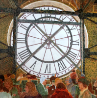 Lunch at Musée d'Orsay by S. Kay Burnett, Encaustic, 24 in x 24 in x 2 in