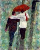 Rainy Day in Paris by S. Kay Burnett, Encaustic, 10 in x 8 in x 1 in