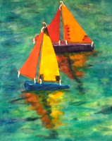 Sailing Toy Boats by S. Kay Burnett, Encaustic, 10 in x 8 in x 1 in