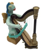Celeste Playing Harp by S. Kay and Gerry Burnett, Encaustic on paperclay, wood, wire, and gesso, 5.75 in x 3 in x 5 in