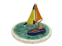 Dev Sailing Toy Boat by S. Kay and Gerry Burnett, Encaustic on paperclay, wood, wire, paper, and gesso, 8.5 in x 12.5 in x 12.5 in